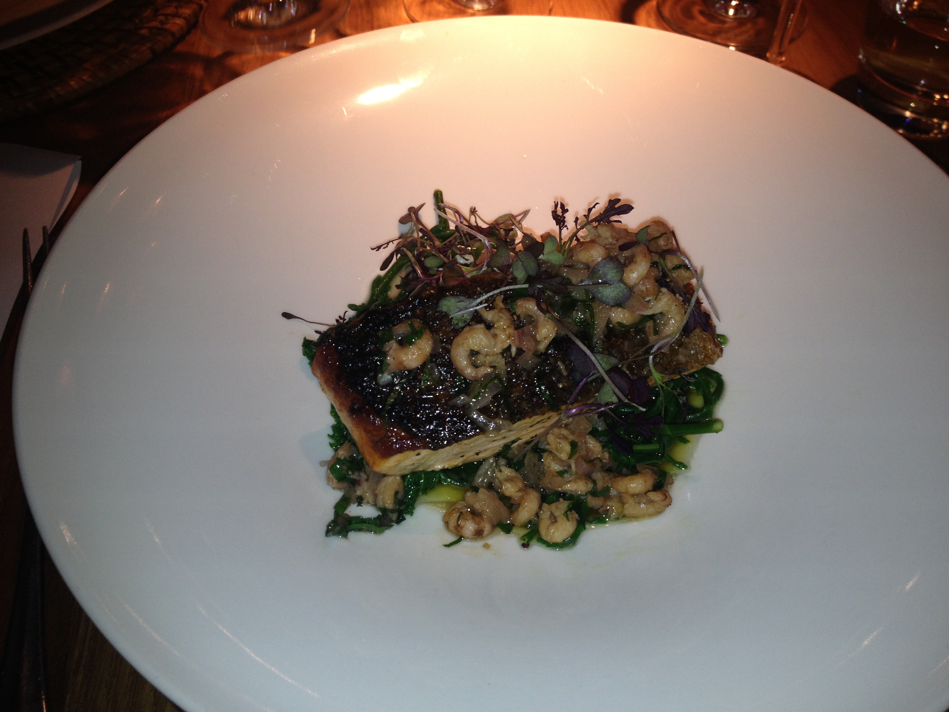 Calcot Manor Conservatory: Salmon in brown shrimp butter